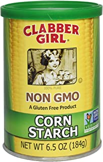 Clabber Girl Corn Starch - Non GMO, Gluten Free, Vegan, Vegetarian, Thickener for sauce, soup, gravy in a Resealable Can - 6.5 oz can (1)