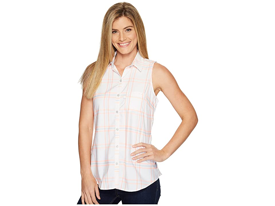 Columbia Super Harborside Woven Sleeveless Shirt (Tiki Pink Windowpane Plaid/Cirrus Grey) Women
