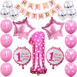 1st Birthday Girls Decorations First Pink Birthday Party Decorations for Girls Number 1 Foil Balloon Happy Birthday Banner Star and Candy Balloons Confetti Balloons Birthday Party Decorations