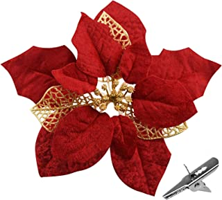Poinsettia Artificial Flowers,15PCS Glitter Christmas Decorations Flowers with Clips, Fake Flowers for Christmas Tree Orna...