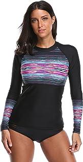 ATTRACO Women's Long-Sleeve Rashguard UPF 50+ Swimwear Rash Guard Athletic Tops