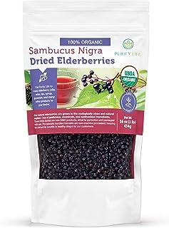 USDA Certified Organic Dried Elderberries (1lb - Bulk) For Making Elderberry Syrup Kit - Natural Sambucus Nigra, Free Of C...