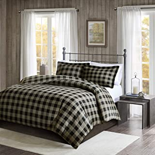 Woolrich 100% Cotton Flannel Checkered Plaid Print Button Closure Cold Weather Winter Warm Duvet Cover Bedding Set, King/Cal King Size, Black/Tan