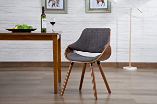 Porthos Home Fabric Mid Century Modern Dining Room or Accent Chair with Beech Wood Dowel Legs, One Size, Grey