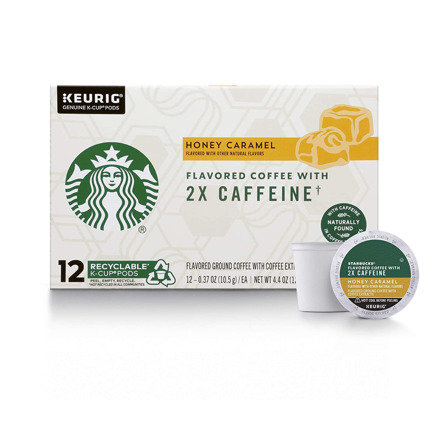 Starbucks Flavored K-Cup Coffee Pods with 2X Caffeine — Honey Caramel for Keurig Brewers , 12 Count (Pack of 4)