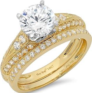 Clara Pucci 2.10 CT Round Cut Simulated Diamond CZ Pave Halo Bridal Engagement Wedding Ring Band Set 14k Yellow White Gold
