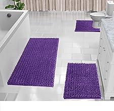 Yimobra Shaggy Chenille 3 Piece Bath Mat Set, Extra Large Bathroom Mats + Bathroom Rugs + Contour Toilet Mat, Soft and Com...