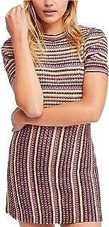 Free People Womens Striped Mini Sweaterdress