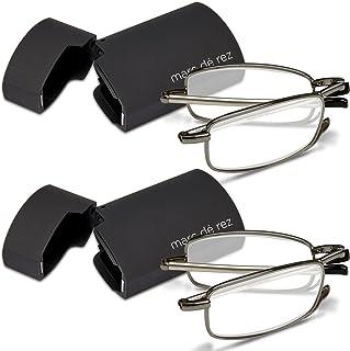 750d9f47f018 Marc De Rez Foldable Mini Reading Glasses 2 Pack - Flip Top Cases - Folding  Prescription