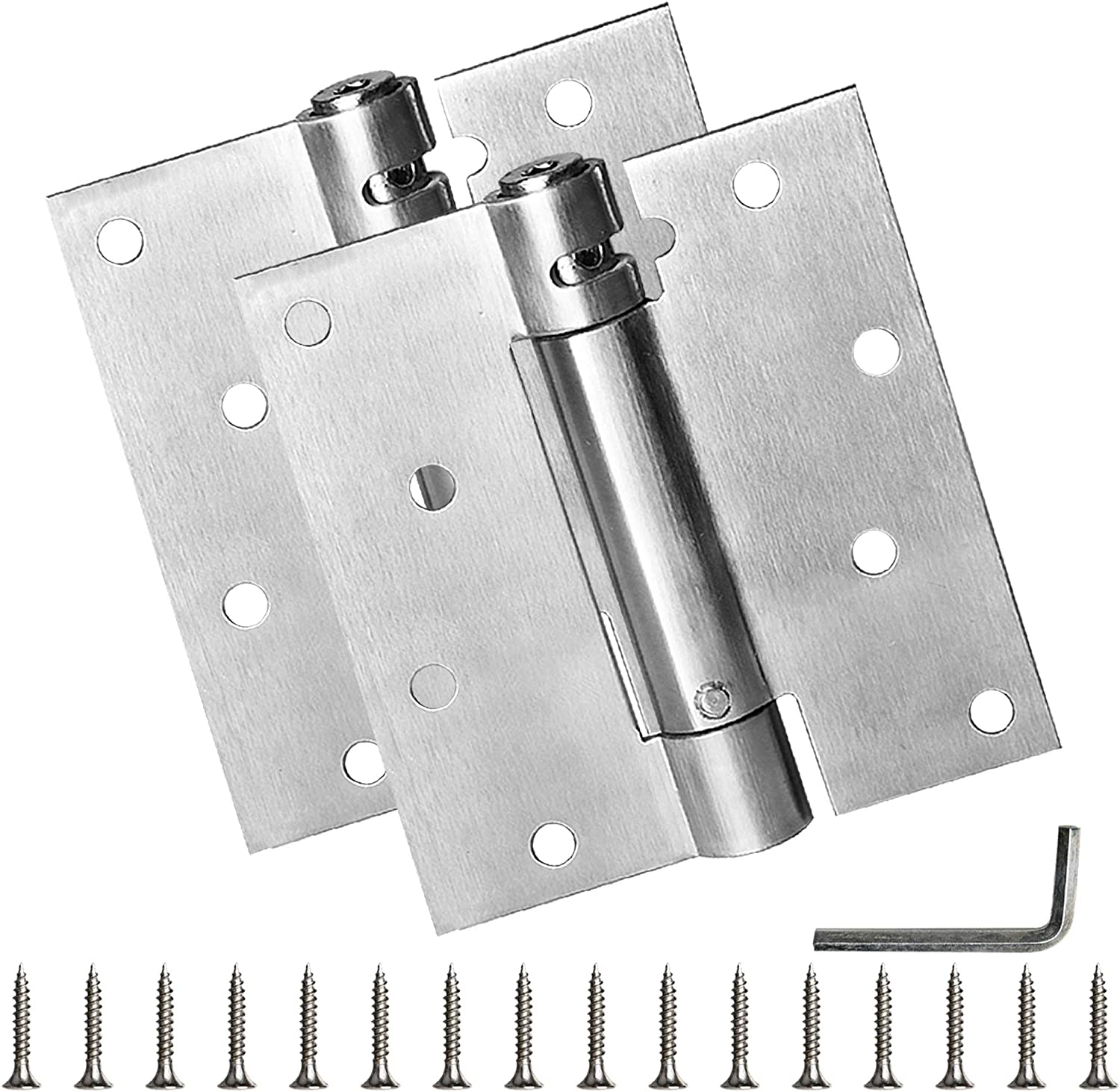 Self Closing Door Hinge, Milkary 2 Pack 4 Inch Heavy Duty Square Stainless Steel Mortise Spring Automatic Closer Hinge Hardware with Mounting Screws Hardware