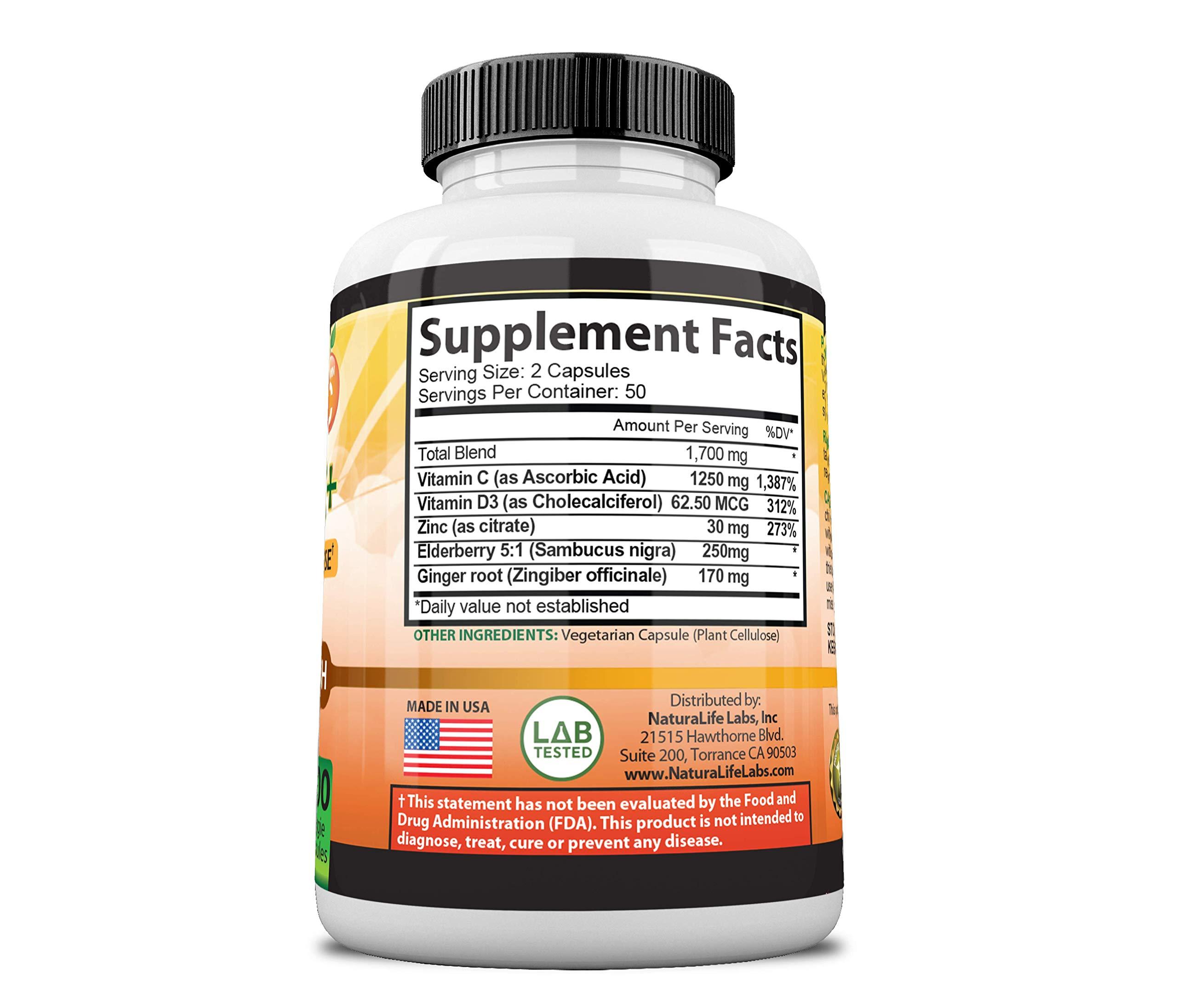 Vitamin C 1,700 MG with Vitamin D3, Zinc, Elderberry, Ginger Root - Maximum Strength Multi System Immune Support- 100 Veggie Capsules