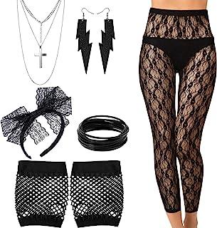 Blulu 80 Jahre Kostüm Set, Legging, Handschuhe, Armband, Ohrring Halskette für 80 Jahre Party