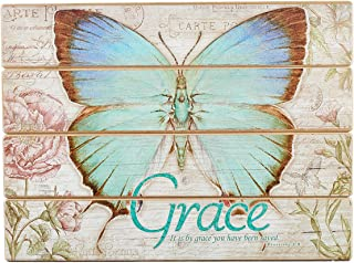 Grace Decoupaged Wooden Wall Art - Ephesians 2:8, Botanic Butterfly Blessings Collection