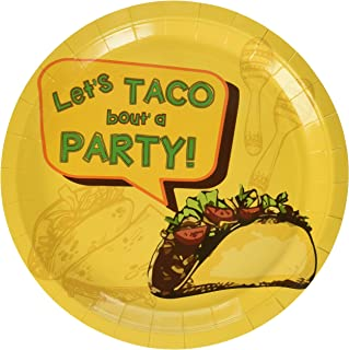 Disposable Plates - 80-Count Paper Plates, Fiesta Party Supplies for Appetizer, Lunch, Dinner, and Dessert, Taco Design, 9 x 9 Inches