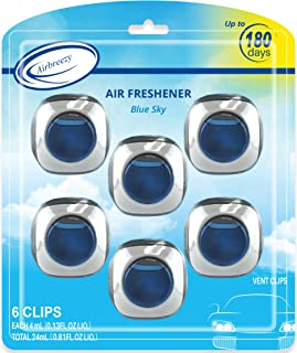 Airbreezy Car Air Freshener, 6 Car Freshener Vent Clips, 4ml Each, Long-Lasting Car Fragrance, Up to 180 Days, Blue Sky/New Car Scents