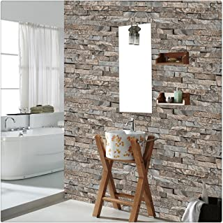 HaokHome 4203 Faux Stone Brick Wallpaper Lt.Brown/Grey Multi for Accent Wall Kitchen Bathroom 20.8
