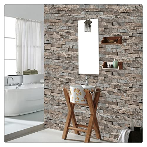 HaokHome 4203 Faux Stone Brick Wallpaper Lt.Brown/Grey Multi for Accent Wall Kitchen
