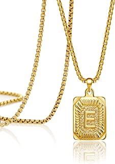 JoycuFF Gold Initial Necklace for Men Women Pendant Necklaces Cute Dainty Unique Fashion Trendy Handmade Square Stainless ...