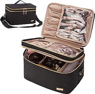 کیف آرایش مسافرتی دو لایه NISHEL ، بند بزرگ ، لوازم آرایشی و بهداشتی متناسب با بطری ها ، لایه بالایی برای برس ها ، موچین ، خط چشم ، سیاه