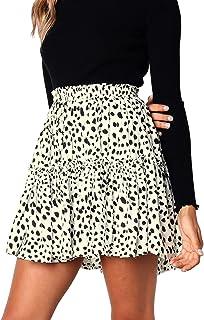 Hibluco Women' Floral Layered Ruffles Tie up High Waist Short Pleated Skirt