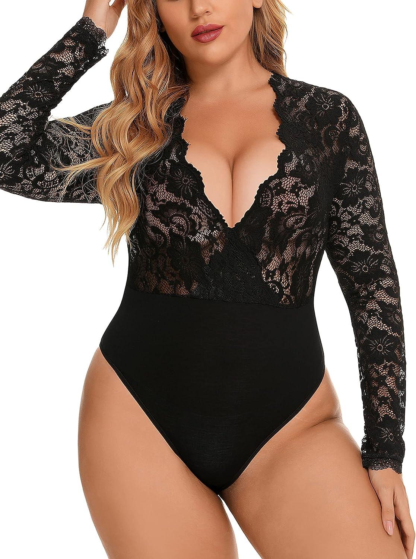 Women Plus Size Lace Bodysuit Sexy Deep V Leotard Snap Crotch Long Sleeve Tops L-XXXL