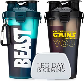 Hydra Cup - 30-Ounce Dual Shaker Bottle, (2 Pack + Pill Container) 15oz on each Side for Pre & Post, Leak Proof, Awesome C...