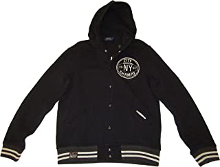 RALPH LAUREN Polo Mens 1967 Brooklyn Basketball Patch Fleece Jacket Black