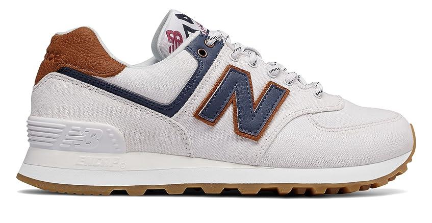 慢ホースシャンパン(ニューバランス) New Balance 靴?シューズ レディースライフスタイル 574 White with Vintage Indigo ホワイト インディゴ US 8 (25cm)