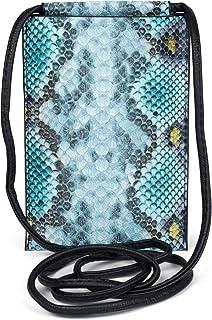 styleBREAKER Damen Handy Umhängetasche in Schlangen Optik, Schultertasche, Handy-Tragetasche, Mini Bag 02012306, Farbe:Tür...