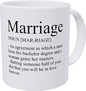 Wampumtuk Marriage Definition, Just Married, Husband, Wife 11 Ounces Funny Coffee Mug