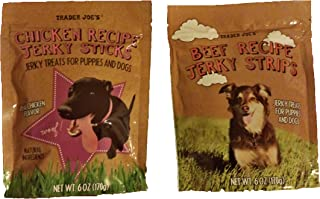 Trader Joe's Puppy and Dog Jerky Stick Treats with Natural Ingredients Bundle - 1 Bag Beef Recipe & 1 Bag Real Chicken Flavor Recipe (6 Oz. Per Bag)