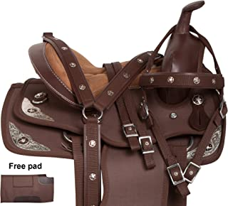 Premium Light Weight Synthetic Brown Youth Kids Silver Western Horse Saddle TACK Bridle REINS Breastplate PAD 10 12 13