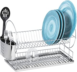 Dish Drying Rack – Two Tier Dish Rack with Drainboard and Utensil Holder – Compact, Stainless Steel 2 Tier Dish Rack