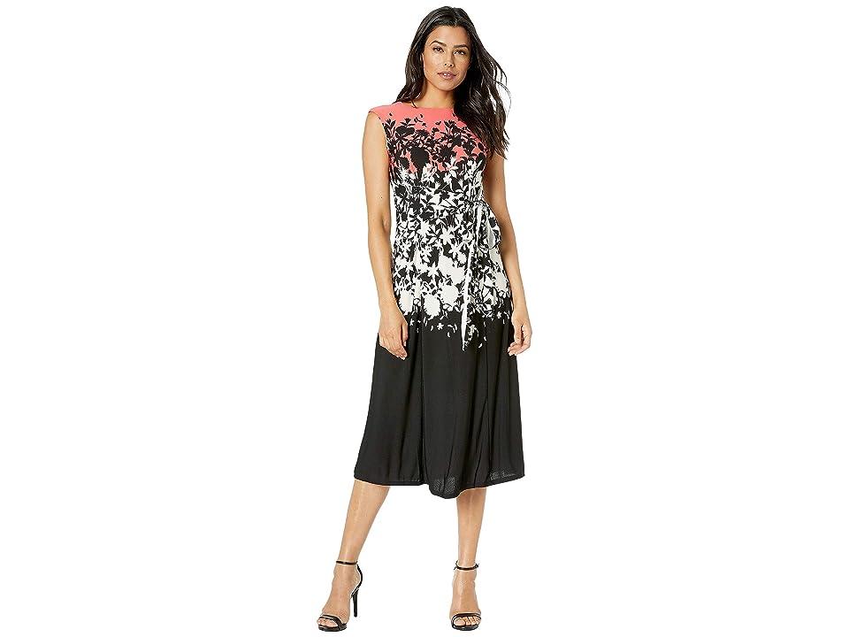 Gabby Skye Printed Havana Crepe Dress (Coral Multi) Women
