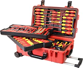Wiha 32800 Insulated Tool Set with Screwdrivers, Nut Drivers, Pliers, Cutters, Ruler, Knife and Sockets in Rolling Tool Ca...