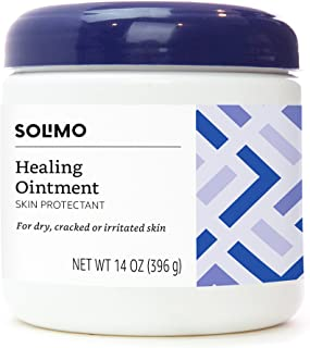 Amazon Brand - Solimo Healing Ointment Skin Protectant for Dry and Cracked Skin, Fragrance Free, 14 Ounce