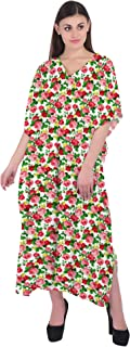 RADANYA Women Summer Casual Kaftan Dresses Beach Cover Up V Neck Floral Caftan