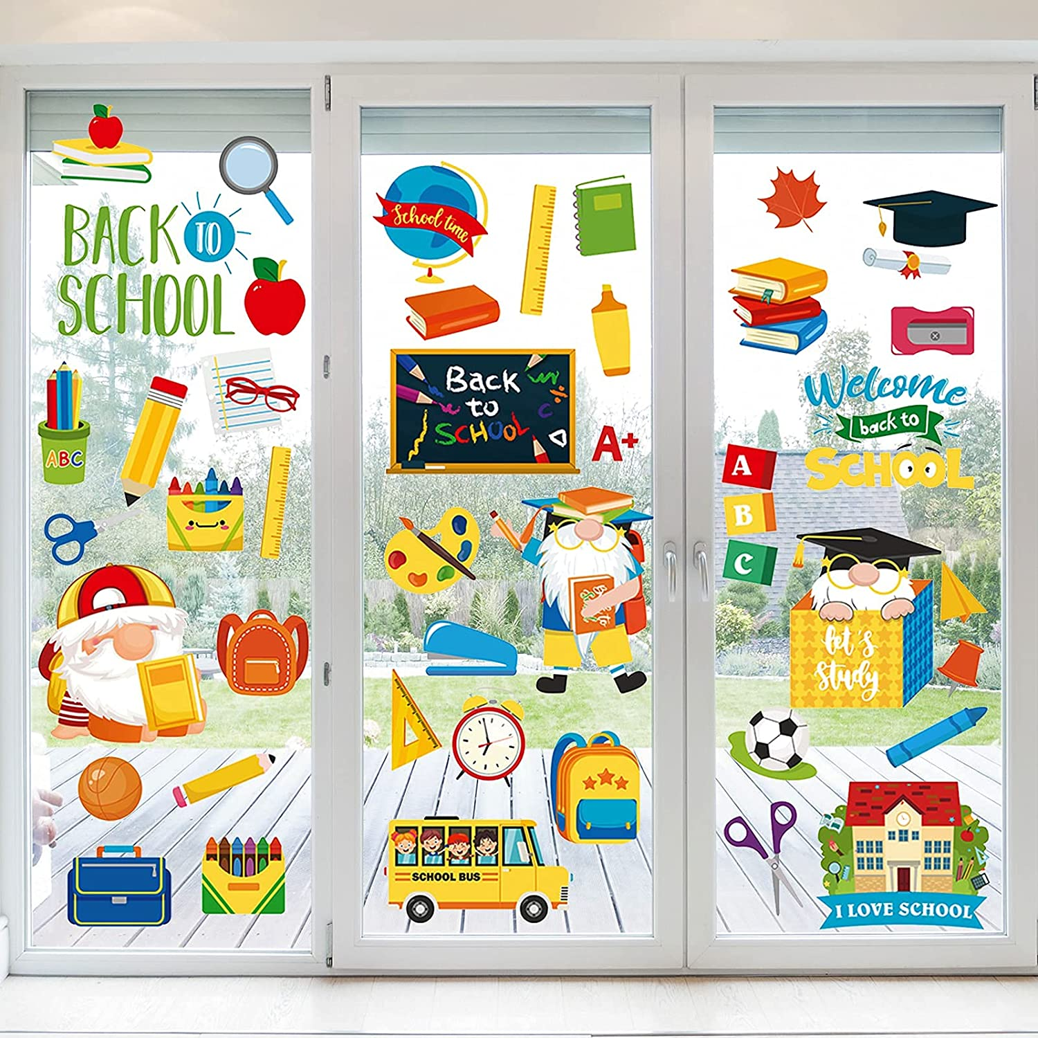 latest NBjiuyin 8 Sheets Back to School service Window Reusable Decor Clings St