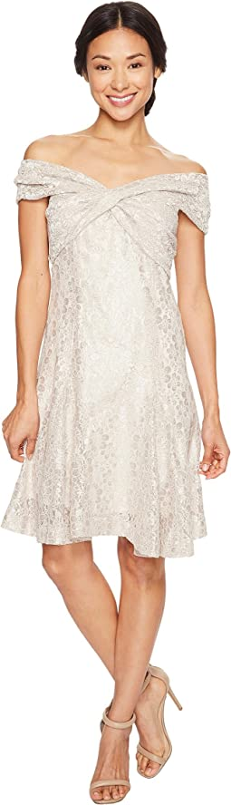Petite Wrap Bodice Lace Dress