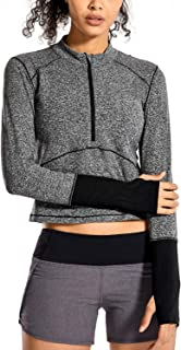 CRZ YOGA Women's Running Shirt Long Sleeve Shirt Dry Fit Half-Zip Workout Tops Crop Athletic