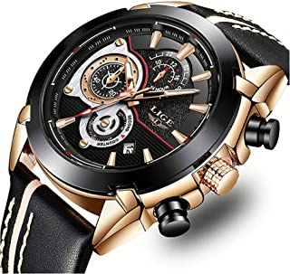 Watches Mens Casual Sports Chronograph Waterproof Analog Quartz Watch with Black Leather Band Classic Business Big Face Wrist Watch for Men Gold Black