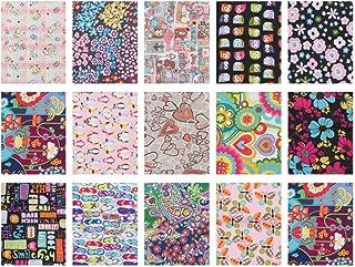 Milisten 15 Piezas de Paquete de Tela Cuadrados Impermeables Patchwork de Floral para Coser Patchwork Diy Craft 20X25cm
