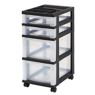 IRIS USA, Inc. MC-322-TOP 4-Drawer Storage Cart with Organizer Top, Black/Clear