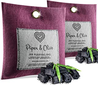 Piper and Olive 2-Pack Bamboo Activated Charcoal Air Freshener, Deodorizer, 250g Purifier Bags - 100% Natural, Chemical Free, Moisture Absorber, Odor Eliminator and Neutralizer, for Home, Shoes, Car