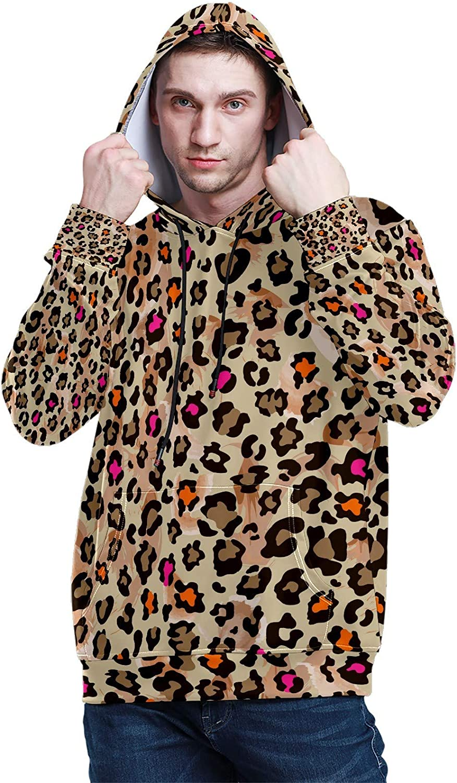 Men's Sport Hoodie Orange Brown Leopard Print Big and Tall Hoodies for Men Women Oversized Hooded Sweatshirt Hip Hop Pullover Hoodie Midweight Hood for Boys Girls