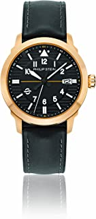 Philip Stein Men's Sky Finder Stainless Steel Japanese-Quartz Watch with Leather Strap, Black, 200 (Model: 700BZ-PLTBK-CPRB)