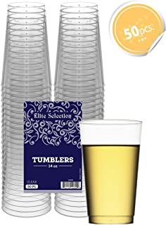 Clear Disposable Plastic Cups 14 Oz. Pack Of (50) Fancy Hard Plastic Cups - Party Accessories - Wedding - Cocktails- Tumblers