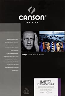 Canson Infinity Baryta Photographique 310gsm, Smooth White Inkjet Paper, A3+, Box of 25 Sheets