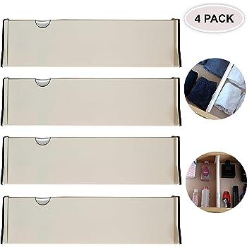 mDesign Juego de 4 separadores de cajones regulables – Práctico organizador de cajones de plástico para armario y cómoda – Versátil divisor de cajones hecho de plástico – blanco: Amazon.es: Hogar