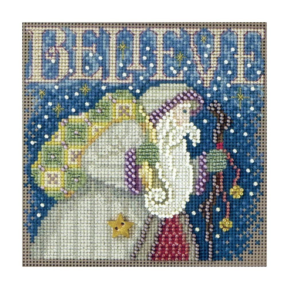 Believe Beaded Counted Cross Stitch Christmas Kit Mill Hill MH141304 Buttons & Beads 2011 Winter Series